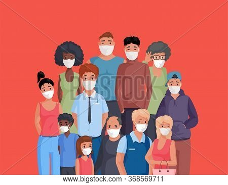Multiracial And Multicultural Group Of People Standing Together And Wearing Protective Face Masks Fl