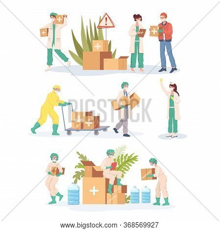 Medical Workers In Uniform And Protective Suits Carrying Humanitarian Aid Vector Flat Cartoon Illust