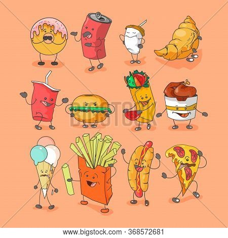 Set Fast Food Icon With Emotions. Ice Cream, Fry Potato, Coffee, Croissant, Donut, Can, Hotdog, Pizz