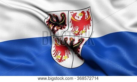 3D illustration of the Italian state flag of Trentino-South Tyrol waving in the wind.