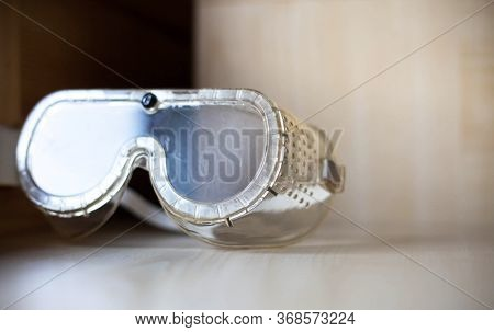 Used Safety Glasses Made Of Transparent Plastic Used To Protect The Eyes