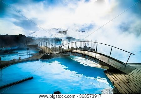 Grindavik, Iceland-Feb 24,2020: Aerial view of The Blue Lagoon, a geothermal bath resort and one of the most visited places in the south of Iceland. Grindavik, Iceland.