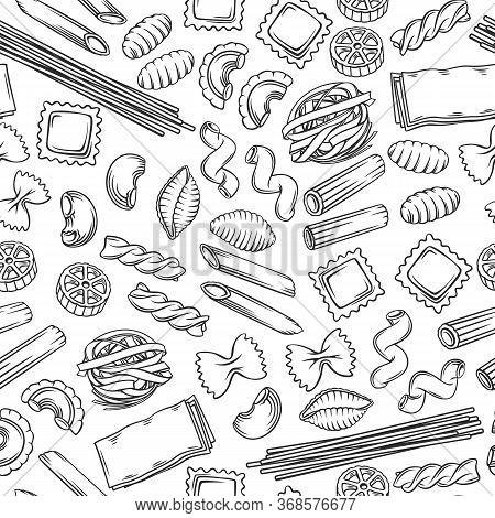 Italian Pasta Seamless Pattern. Macaroni Outline Vector Illustration. Italian Food Of Ravioli, Gnocc