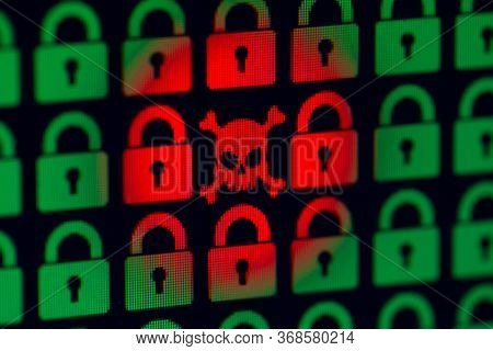 Skull And Bone As A Symbol Of Hacking Programs Or Personal Information And Data. Cyber Crime. Green