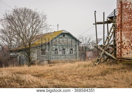 Old Wooden House In Village, Wooden House In Russian Outback, Old House