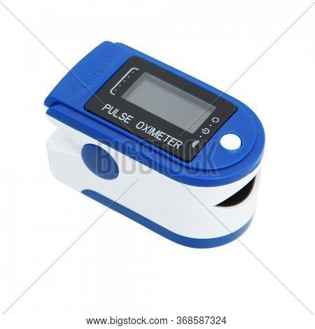 Medical Device Pulse Oximeter over white with Clipping Path