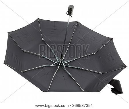 Classic Little Black Umbrella over white with Clipping Path: Open