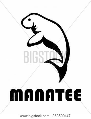 Black Line Art Vector Illustration On A White Background Of A Manatee. Suitable For Making Logo.