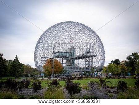 Montreal, Ontario, Canada - October 1, 2019: Biosphere Museum In Montreal. Former Pavilion Of The Us