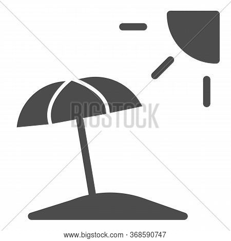 Summer Beach With Umbrella And Sun Solid Icon, Summer Concept, Beach Parasol Sign On White Backgroun