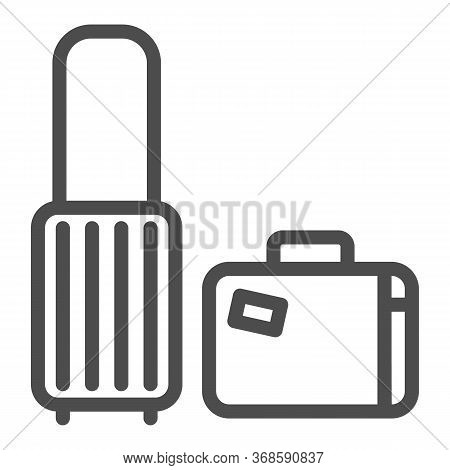 Travel Suitcases Line Icon, Luggage Concept, Traveling Suitcase Sign On White Background, Set Of Tra