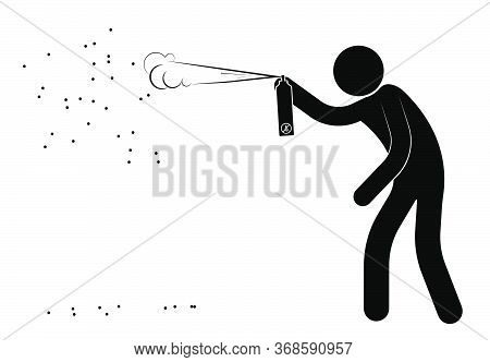 Stick Figure, Man Poisons A Swarm Of Dangerous Insects From A Gas Spray. Attack Of Wasps And Bees On
