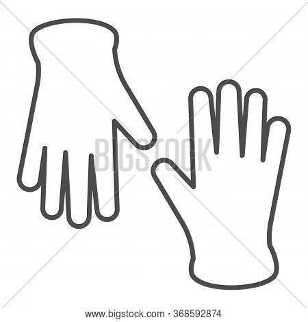 Medical Gloves Thin Line Icon, Healthcare Concept, Pair Of Surgical Latex Glove Sign On White Backgr