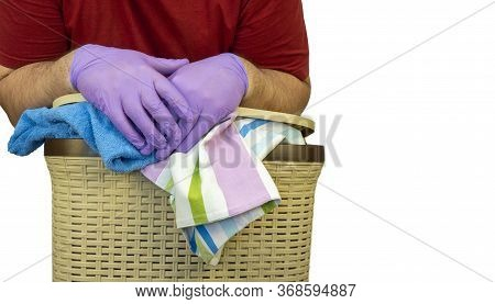 Man With A Laundry Basket On A White Background. Laundry Service