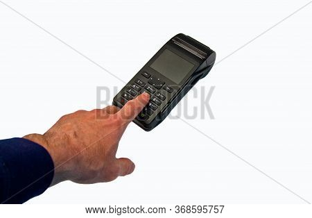 Hand Enters Pin - Password - Isolated On White Background. Security Of Payments.