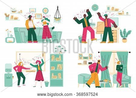 Angry People Having Fight In Room Interiors - Cartoon Couples In Screaming Argument Inside Apartment