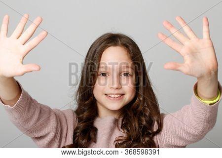 Ten years old, happy girl