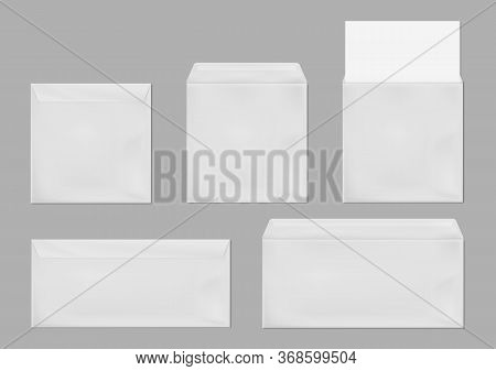 White Envelope Dl And Square Template. Vector Realistic Mockup Of Blank Closed And Open Envelopes, L