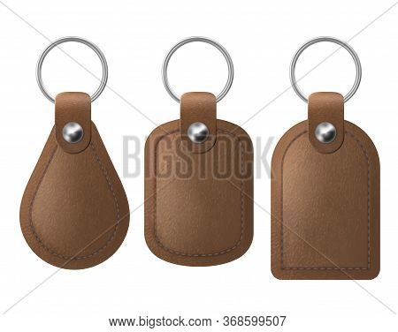 Leather Keychains, Brown Keyring Holders Set With Metal Rings. Accessories Or Souvenir Trinkets For