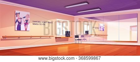 Dance Studio, Empty Ballet Class Interior With Mirrors And Wooden Floor. Rehearsal Room For Lessons