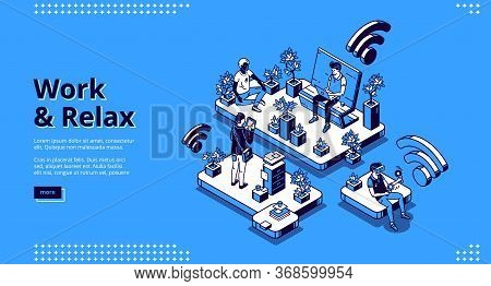 Work And Relax Isometric Landing Page, Business People Working On Laptop Sitting On Bench In Park An