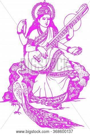 Drawing Or Sketch Of Lord Brahma's Wife Goddess Saraswati Or Education God Outline Editable Vector I
