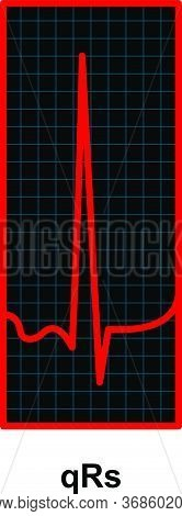 Red Heartbeat Pulse Monitor. Ekg And Cardio Symbol
