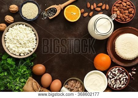 Round Frame Made Of High Calcium Foods. A Variety Of Products Rich In Calcium. Top View, Flat Lay, C