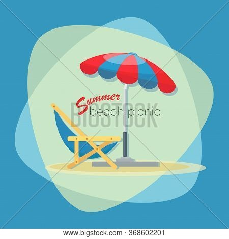 Picnic Time. Summer Beach Picnic. Vector Emblem, Poster Or Banner Template. Picnic On Vacation At Se