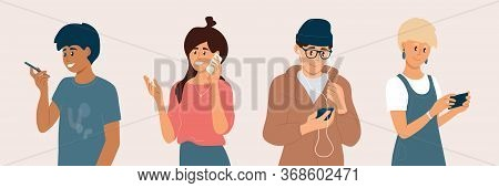 Group Of Young People Using Smartphones. Men And Women Chatting Online, Making Video Call, Listening