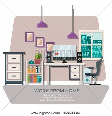 Vector Illustration Of A Workspace Display Complete With Work Equipment And Room Furniture With City