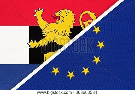 European Union Or Eu And Benelux Union National Flag From Textile, Netherlands. Luxembourg, And Belg