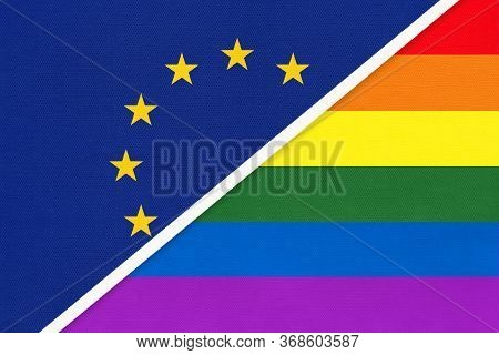 European Union Or Eu National Flag And Rainbow Flag Of Lgbt Community From Textile Opposite Each Oth