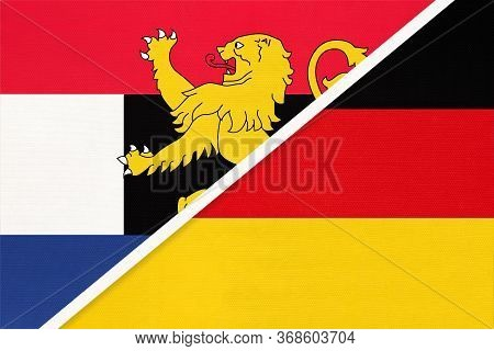 Federal Republic Of Germany And Benelux Union National Flag From Textile, Netherlands. Luxembourg, A
