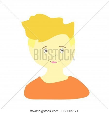 Vector Portrait Of A Little Boy In Flat Style. Illustration Of A Child Of European Race Appearance B