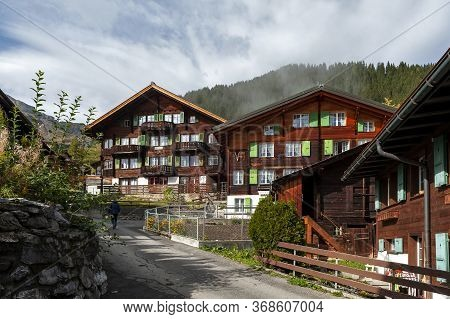 Lauterbrunnen, Switzerland - October 2019: Murren, A Mountain Village Situated In The Bernese Highla