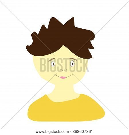Vector Portrait Of A Little Boy In Flat Style. Illustration Of A Child Of Indian Race Appearance By
