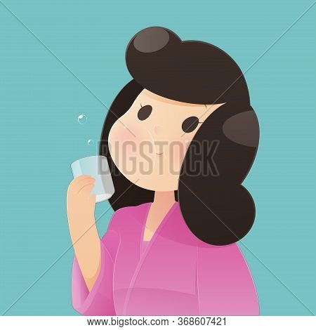 Healthy Happy Woman Rinsing And Gargling While Using Mouthwash From A Glass. During Daily Oral Hygie