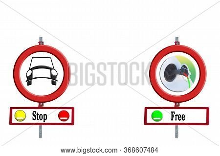 Street Signs Diesel Driving Ban And E-car Free In Front Of White Background. Concept Environmental P
