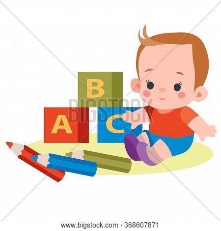 Boy Sits Among Cubes With Letters And Pencils, Flat, Isolated Object On White Background, Vector Ill