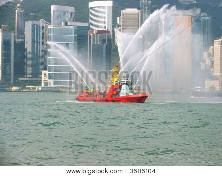 Fireboat In Hong Kong City