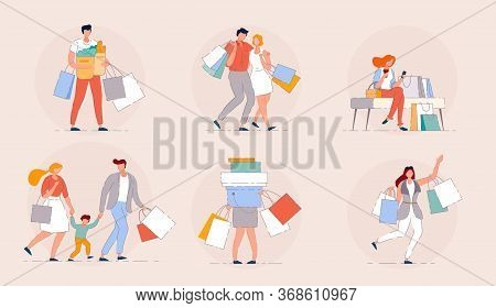 People Shopping. Happy Family Shopping In A Mall Sale Season Concept. Group Of People Shopping Bags