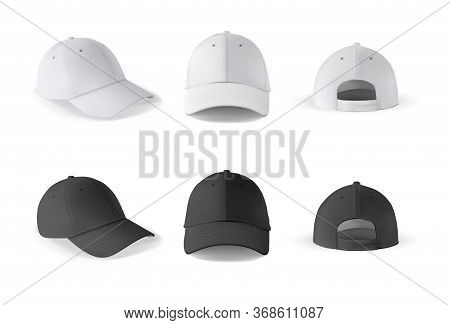 Baseball Cap. Realistic Baseball Cap Template Front, Side, Back Views. Black And White Blank Cap Iso
