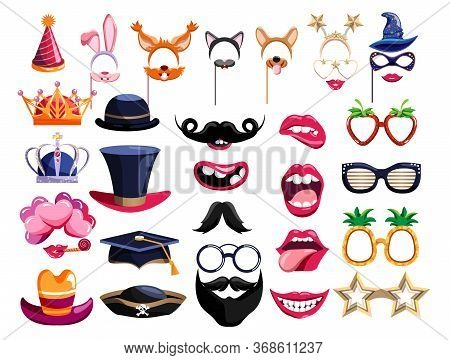 Photo Booth Props. Birthday Photobooth Element Collection. Party Props For Funny Photo Booth Set Wit