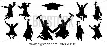 Icons Of Jumping Silhouettes Of Graduates Student, Icon Of Square Academic Cap. Vector Illustration