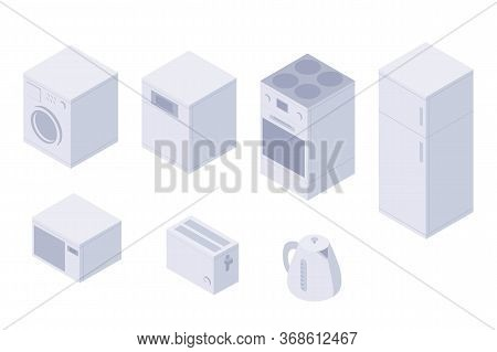 Set Of Isometric Kitchen Home Utilities. A Washing Machine, Dishwasher, Oven, Stove, Fridge, Microwa