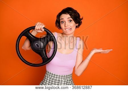 Portrait Of Frustrated Girl Hold Steering Wheel Have No Drive License Get Car Crash Bite Lips Teeth