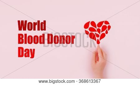 World Blood Donor Day Background With Copy Space. Blood Donor Day Campaign For Donation Charity Conc