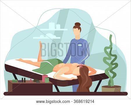 Beauty Spa Salon Massage Therapist Women Massaging Men Lying Down Relaxing On Table. Luxury Cabinet