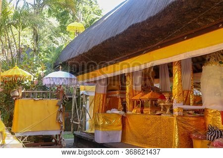 Hindu Offerings Prepared For Ceremonies At Batukaru Temple On Bali Island In Indonesia. Traditional